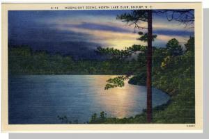 Shelby, NC Postcard, North Lake Club/Moonlight, Near Mint!