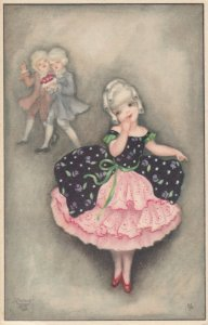 Art Deco : Shy girl giggles as boys wave, 1910-20s