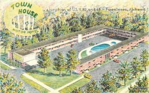 1950s Town House Motor Court Pool Tuscaloosa Alabama Bowers postcard 7203