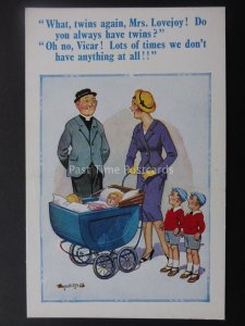 Donald McGill Postcard VICAR TO MOTHER - TWINS AGAIN MRS LOVEJOY c1950's