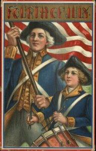 4th Fourth of July Revolationary Drummer Boy American Flag c1910 Postcard