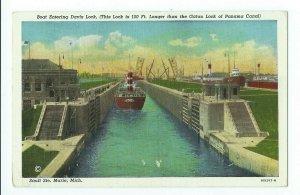 Postcard Boat Entering Davis Lock Sault Ste Marie Michigan VPC01.