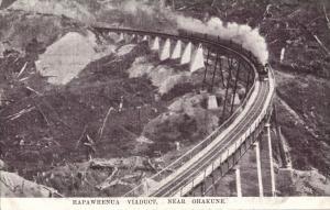new zealand, OHAKUNE, Hapawhenua Viaduct with Steam Train (1920s) Postcard