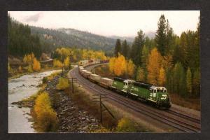 MT Burlington Northern Railroad Train Riverview Montana Postcard RR PC