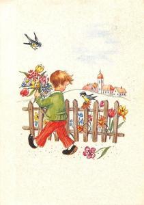 Little Boy with Flowers Bouquet Birds Fence Village Church