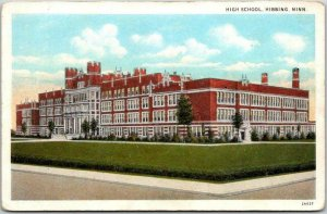 Vintage 1930s Hibbing, Minnesota Postcard HIGH SCHOOL Building / Street View