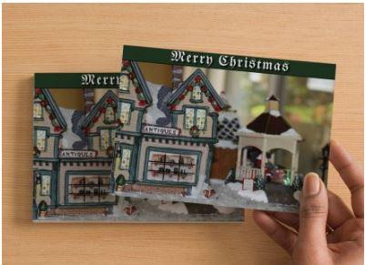 Merry Christmas Handmade Postcard Set of 6, Christmas Village Antiques