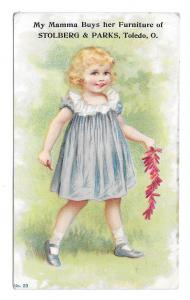 Victorian Trade Card Stolberg & Parks Girl Firecrackers Furniture for the Masses