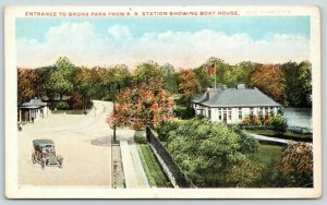 New York City~Bronx Park Entrance From RR Station~Boat House~Vintage Car~1921