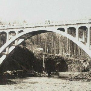 Bridge at Depoe Bay Oregon Coast Highway Art Moderne RPPC Photo Postcard F135
