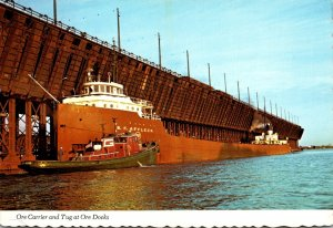 Minnesota Duluth Giant Ore Carrier Loading Cargo At The Ore Docks