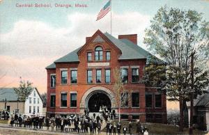 Orange Massachusetts birds eye view Central school antique pc Y15252