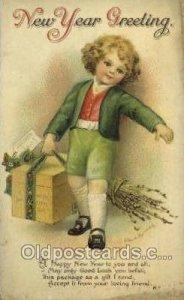 Artist Ellen Clapsaddle, New Year 1915 light wear close to grade 2, yellowing...