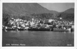Ketchidan Alaska View~Houses-Passenger Ship Docked in Harbor~1950s RPPC-Postcard