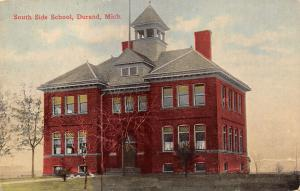 Durand Michigan~South Side School~Bell Tower~c1910 Postcard