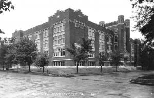 Mason City Iowa~Younger Trees Around Block of High School~Towers RPPC 1940s