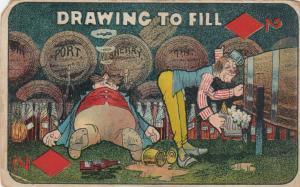Comic: Drawing To Fill, PU-1910; Drunkards filling mugs from barrells