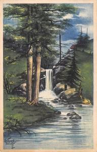 Kathryn Elliott~Forest Glen Waterfall~Cabin on Hilltop~G&B 1908 Postcard