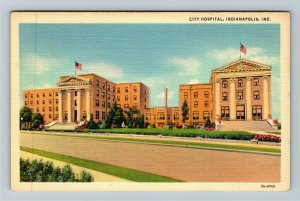 Indianapolis IN Indiana, City Hospital, Linen Postcard