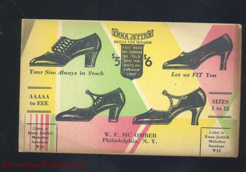PHILADELPHIA NEW YORK W.F MCOMBER SHOES SHOE STORE OLD ADVERTISING POSTCARD