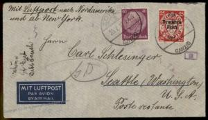 Danzig Germany 1940 Zoppot Airmail Cover Poland Gdansk Seattle Washington 83345