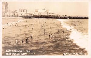 Surf Bathing, Long Beach, California, Early Real Photo Postcard, Unused
