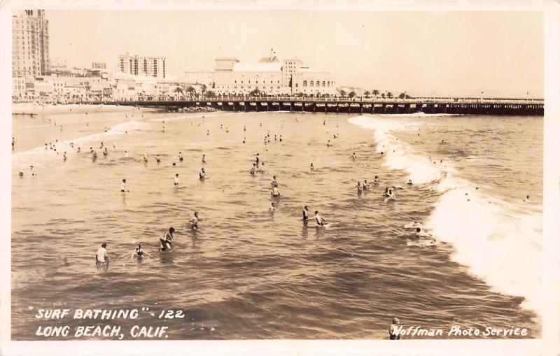 Surf Bathing, Long Beach, California, Early Real Photo Postcard, Unused