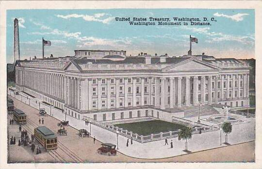 Washington DC United States Treasury Washington Monument In Distance