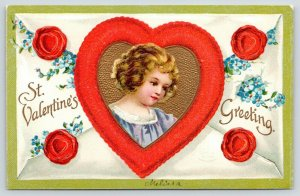 Clapsaddle Valentine~Curly Blonde Girl~Red Gold Heart~Wax Seals~Envelope~Emboss