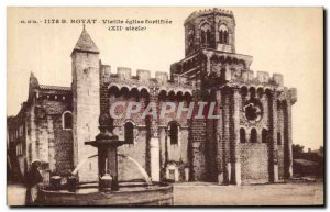 Old Postcard Royat walled Old Church