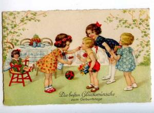 240740 BIRTHDAY Girls TEA Type CUP Toys DOLL Vintage postcard