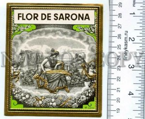 500116 FLOR de SARONA Vintage embossed cigar box label