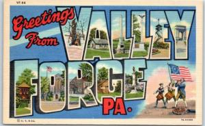 VALLEY FORGE Pennsylvania Large Letter Postcard Multi-View Curteich Linen c1940s
