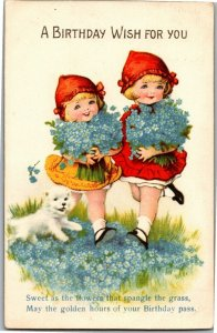 Birthday Wish Girls with Red Caps White Dog Forget Me Nots c1933 Postcard S15