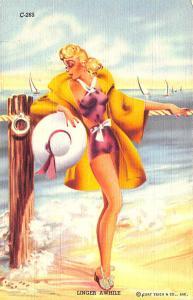 Curt Teich Linen Linger Awhile Streamline Bathing Beauties Postcard
