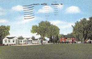 Mendota Illinois Macs Motel Street View Antique Postcard K41264