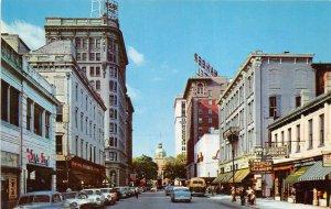 Savannah Georgia 1950s Postcard Bull Street from Wright Square Cars Shops Bus