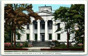 Milledgeville, Georgia Postcard GOVERNOR'S MANSION, Erected 1838 1937 Cancel