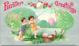 1910s EASTER GREETINGS Embossed Postcard Children Fishing for Colored Eggs
