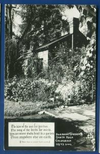 Santa Rosa California ca Burbank Gardens real photo postcard RPPC