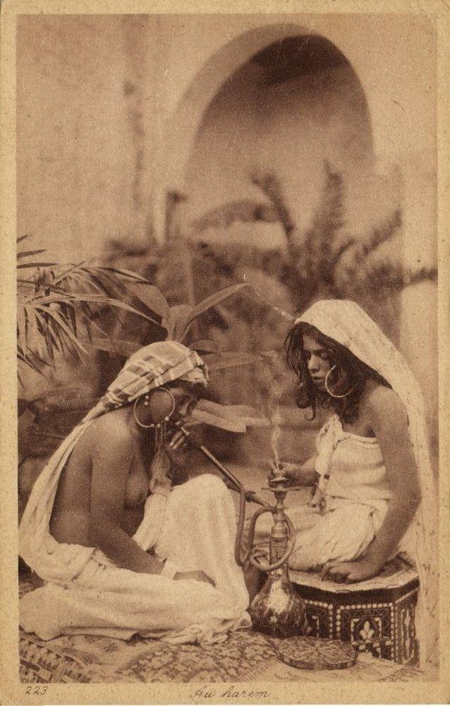 Beautiful Nude Harem Girls Smoking, Earrings Jewelry