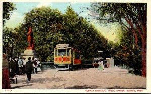 Massachusetts Boston Public Garden Trolleys At Subway Entrance 1910