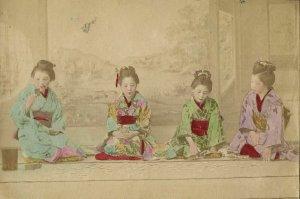 japan, Beautiful Geisha Ladies playing Game (1899) Hand Painted RPPC Postcard
