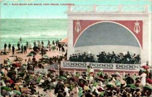 Vtg Postcard 1908 Band Stand and Beach - Long beach, CA - Ed Mitchell Pub