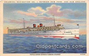 Turbine Steamer Colonial Navigation Co, New York, New England Ship Unused