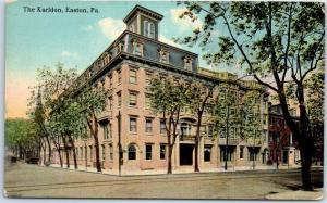 Easton, Pennsylvania Postcard KARLDON HOTEL Building, Street View c1910s Unused