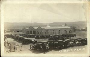 Tijuana Mexico Building & Old Cars c1915 Real Photo Postcard