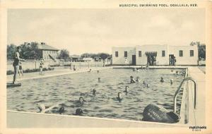 1940s Municipal Swimming Pool Ogallala Nebraska Teich postcard 6493