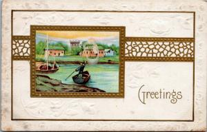 Greetings - embossed - unposted - picture of boats, village