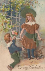 VALENTINE'S DAY : 1900-10s; To my Valentine, Boy gives girl flowers, PFB 9476